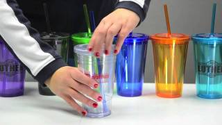 Double Wall Acrylic Promotional Tumbler with Straw - 16 oz.