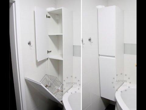 Подвесной шкаф в ванную комнату. Шкаф для белья из МДФ, без ручек. Корзина для белья. Шкафы Киев.