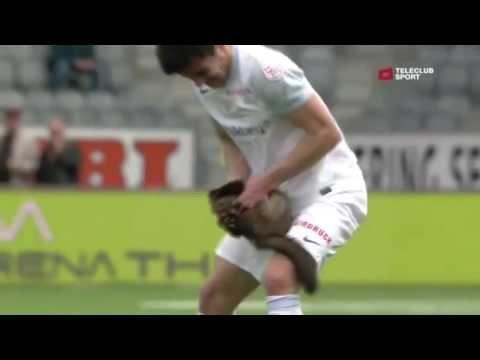 Marten bites soccer player - Marder beisst Fussballer