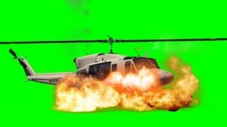 Helicopter crash on a Car and explode Movie FX Green Screen