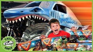 Dinosaurs & Giant Trucks! Monster Jam Adventure with Kids Surprise Toys & Life Size Dinosaur Escape