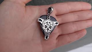Silver 13 Lucky Number Skull Guitar Pick Holder Mens Pendant Necklace