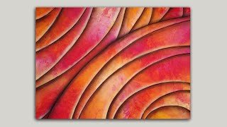 Abstract Painting Created With Plastic Wrap And Acrylic Paint | Easy Painting Techniques