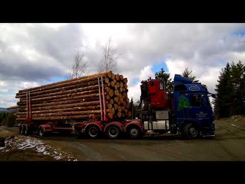 SISU Polar Timber truck with Eaton Fuller transmission hauling timber uphill