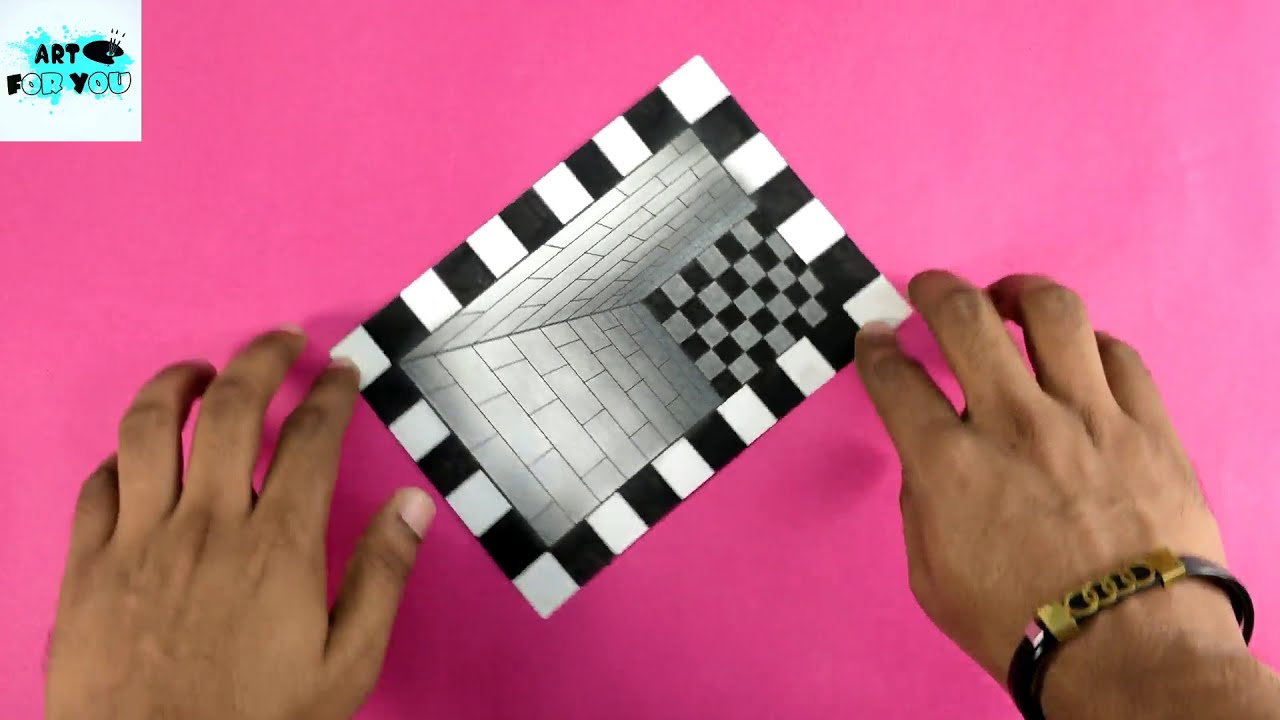 3d illusion art how to draw a hole 3d trick art by art for you