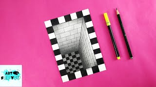 Very Easy!! How To Draw 3D Hole Illusion - 3D Trick Art On Paper   3D Drawing Hole Easy   3D Drawing