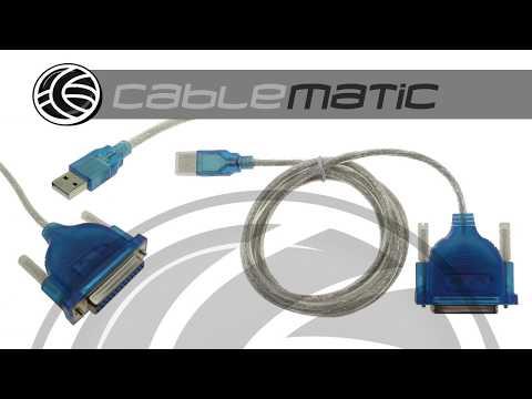 Cable conversor de USB a puerto paralelo A macho a DB25 hembra 1.5 m - distribuido por CABLEMATIC ®