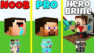 Minecraft Battle: NOOB vs PRO vs HEROBRINE: FAMILY HEAD BLOCK HOUSE CHALLENGE / Animation