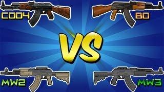QUAD AK47 Vs BREAKDOWN Cod 4 Vs MW2 Vs BO Vs MW3 Call Of Duty AK47 Gun