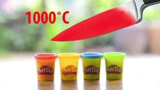 EXPERIMENT Glowing 1000 degree KNIFE VS Play Doh