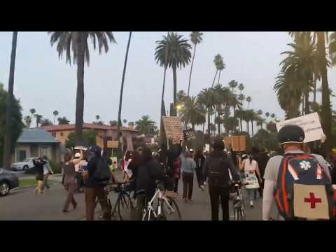 "Protesters Shouting ""Abolish Capitalism Now"" In Beverly Hills"