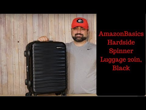 AmazonBasics Hardside Spinner Luggage 20-Inch, Black