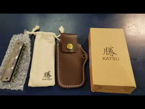 Katsu Damascus Japanese Style Folding Pocket Knife With Wharncliff Blade