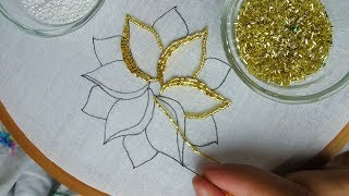 hand embroidery:beads work| beaded embroidery flower tutorial