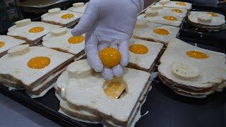 계란 노른자 넣은! 햄 치즈 토스트 / egg yolk, ham cheese toast - korean street food