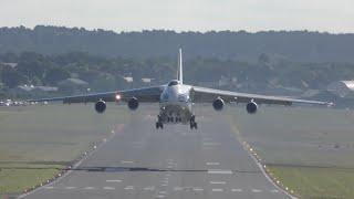 An-124 takeoff right above my head Farnborough 2016 airshow 4K video