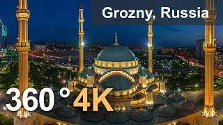 """""""Heart of Chechnya"""" Mosque, Grozny, Russia. 4K aerial 360 video"""