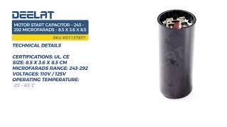 Motor Start Capacitor – 243 – 292 Microfarads - 8.5 x 3.6 x 8.5 cm