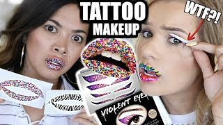 TESTING PEEL-OFF TATTOO MAKEUP! Eyeliner, Lipstick, & Lip Plumper | Does it Work?!