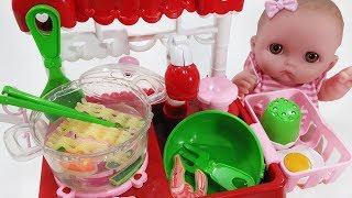 Baby doll Kitchen cart and noodle cooking toys pororo play - 토이몽