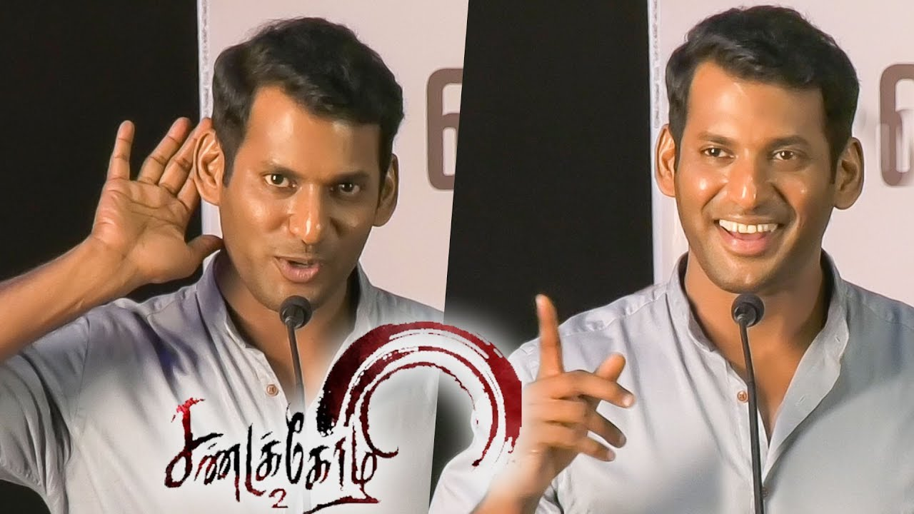 Varalaxmi Suggested Sarathkumar to her Role - Vishal Funny Speech   Sandakozhi 2