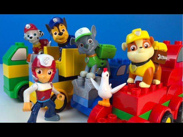 Paw Patrol And Lego Duplo Build Trucks With Chase Marshall Rubble ...