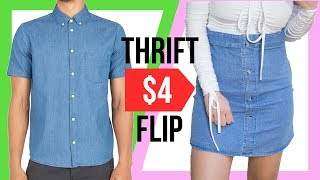 DIY THRIFT FLIP | Mens Dress Shirt to Faux Denim Skirt  | Eva Chung