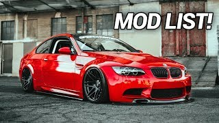 MY BMW E92 M3 MOD LIST/WALKAROUND!! (Build Breakdown)