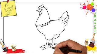 How to draw a chicken (hen) EASY step by step for kids, beginners, children
