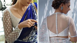 Pristine White Net Blouse Designs To Try With Designer Sarees