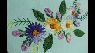 Lazy Daisy Stitch For Beautiful Flower Design Making | Hand Embroidery Designs