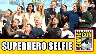 Stan Lee's Superhero Comic Con Selfie with Gambit, X-Men Apocalypse, Deadpool & Fantastic Four Cast