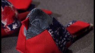Sew Patchwork Christmas Tree-cone And Unusual Bird Brooch. Diy. Handmade