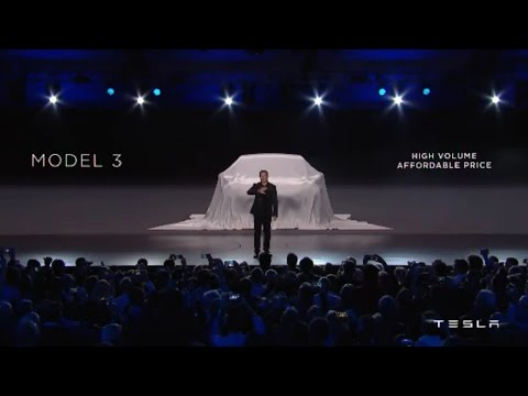 Elon Musk unveils Tesla Model 3 at Tesla Model 3 event