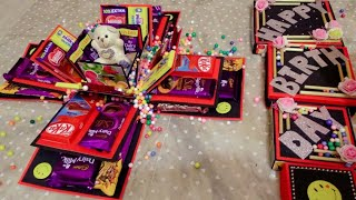 Chocolate  Explosion Box With Four Layers Of Chocolates, Teddy And Photos.. Birthday Explosion Box🎁