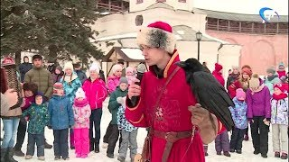 В Кремле юные новгородцы и их родители зазывали теплую погоду по народным обычаям
