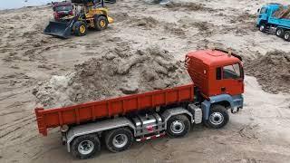 덤프트럭  rc Man cam chở cát san phẳng sông Hồng