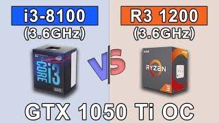 Intel Core i3 8100 (3.6GHz) vs RYZEN 3 1200 OC (3.6GHz) | GTX 1050 Ti