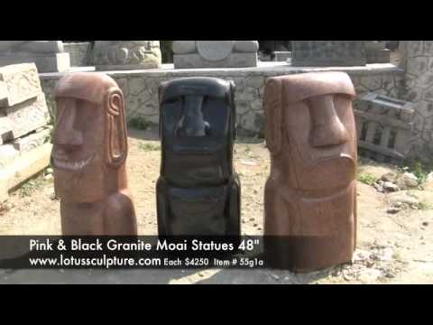 Polished Pink Granite Smiling Moai Sculpture 48