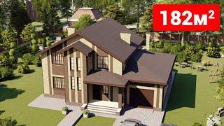 Проект дома 182-A, Площадь дома: 182 м2, Размер дома:  14,8x11,1 м