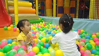 Indoor Playground Ball Pit with Cute Kids - How Excited Kids Playing with Slides