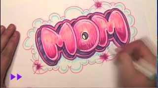 How to Draw Graffiti Letters - Write Mom in Bubble Letters - MAT