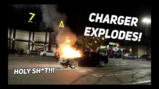 CAR CRASHES AND THEN EXPLODES WHILE DRIFTING AT CAR MEET!! (Charger EXPLODES While Drifting)