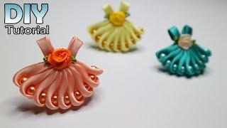 DIY - How To Make Kanzashi Little Dress | Satin Ribbon | Hair Clips | Bros Gaun | Jepit Rambut