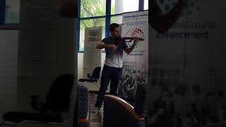 Natan Babek performs electric violin at South Campus