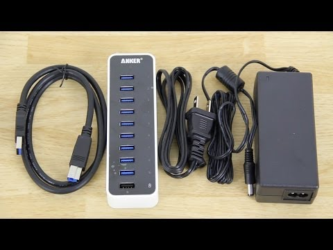 Anker USB 3.0 9-Port Hub + 5V 2.1A Smart Charging Port with 12V 5A Power Adapter