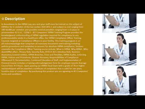 HIPAA Compliance Officer Training On Demand Online - YouTube