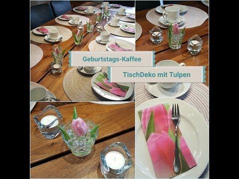 Home Deko - Kaffeetisch Dekoration im Januar 2018  / Tulpen + Crystal Water Perlen