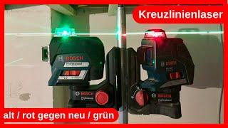 Meine selbstnivellierenden Kreuzlinien Laser rot / alt im Vergleich gegen den neuen grünen von Bosch