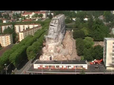 4D - Démolition explosif Grande Barre d'Immeuble - MÂCON (FRANCE)